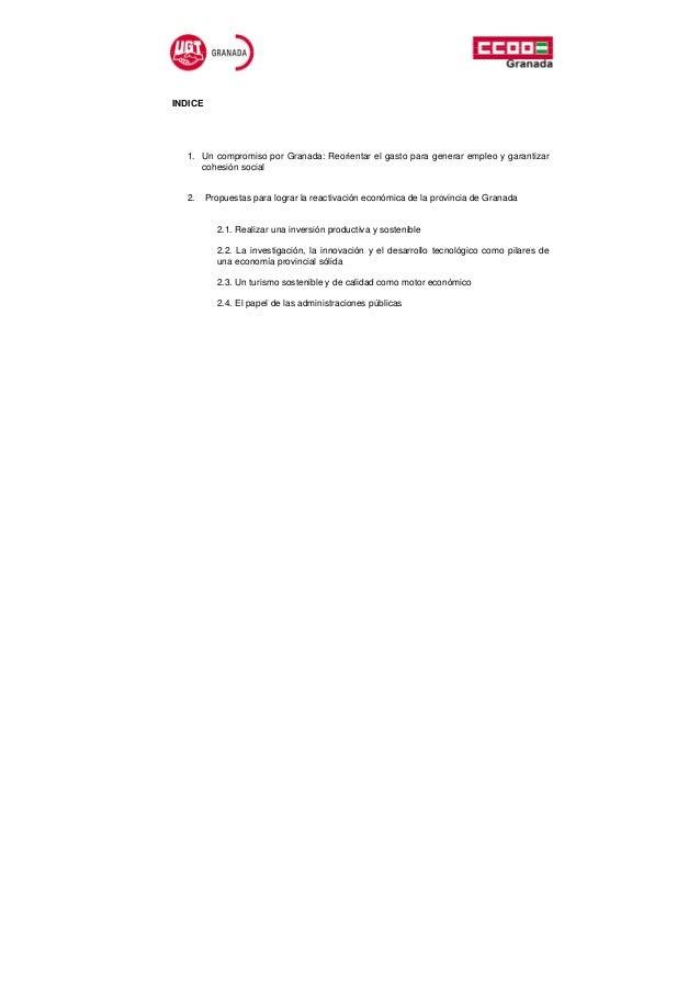 INDICE  1. Un compromiso por Granada: Reorientar el gasto para generar empleo y garantizar     cohesión social  2.     Pro...