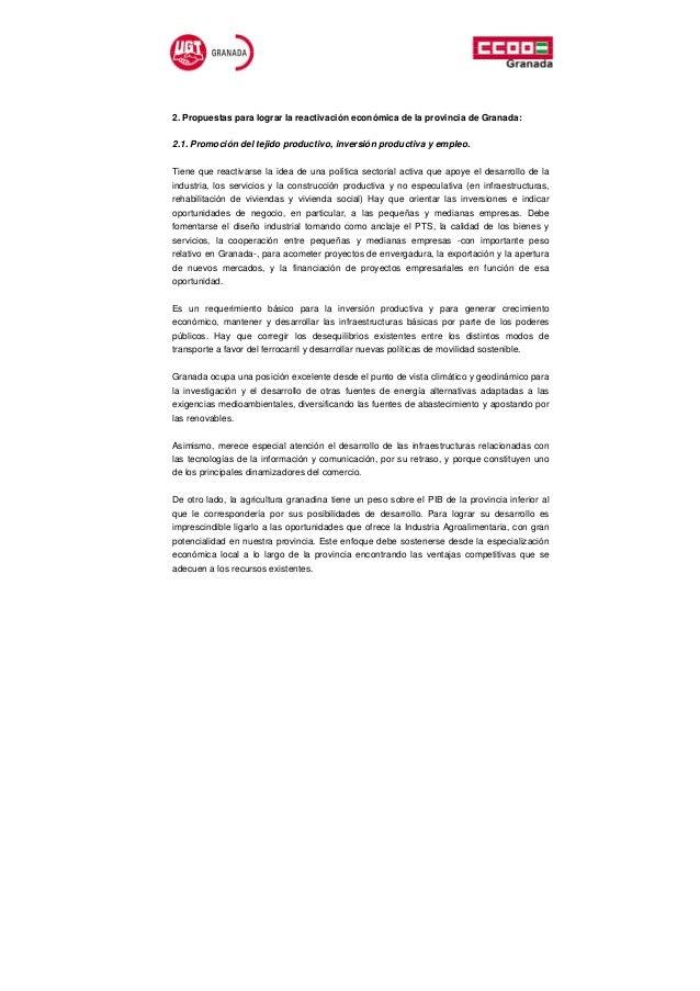 2. Propuestas para lograr la reactivación económica de la provincia de Granada:2.1. Promoción del tejido productivo, inver...