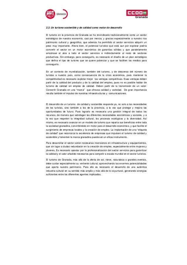 2.3. Un turismo sostenible y de calidad como motor de desarrolloEl turismo en la provincia de Granada se ha reivindicado t...