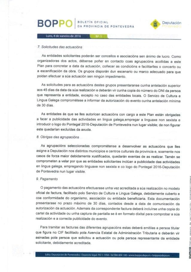 """BOLETÍN OFICIAL DA PROVINCIA DE PONTEVEDRA  Deputación P rn """"¡n!  ¿»y ¿ LunsAde xaneiro de 2016 N"""" l  7. Solicitudes das a..."""