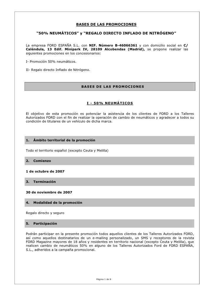 """BASES DE LAS PROMOCIONES      """"50% NEUMÁTICOS"""" y """"REGALO DIRECTO INFLADO DE NITRÓGENO""""La empresa FORD ESPAÑA S.L. con NIF...."""