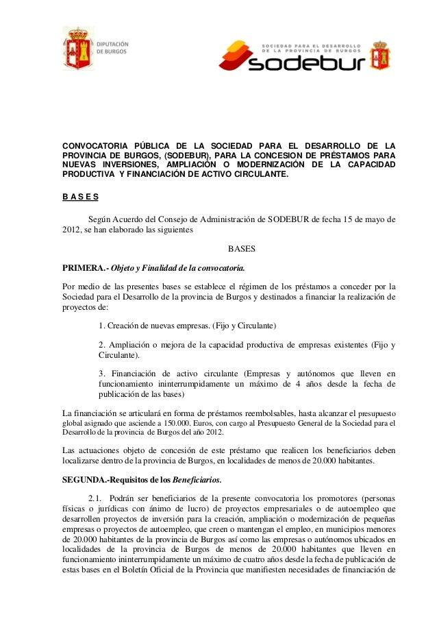 CONVOCATORIA PÚBLICA DE LA SOCIEDAD PARA EL DESARROLLO DE LAPROVINCIA DE BURGOS, (SODEBUR), PARA LA CONCESION DE PRÉSTAMOS...