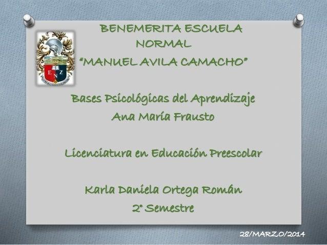 """BENEMERITA ESCUELA NORMAL """"MANUEL AVILA CAMACHO"""" Bases Psicológicas del Aprendizaje Ana María Frausto Licenciatura en Educ..."""