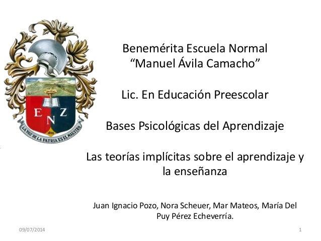 """Benemérita Escuela Normal """"Manuel Ávila Camacho"""" Lic. En Educación Preescolar Bases Psicológicas del Aprendizaje Las teorí..."""