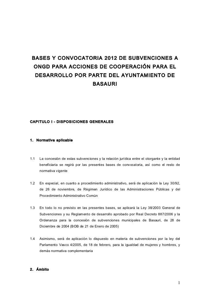 BASES Y CONVOCATORIA 2012 DE SUBVENCIONES A  ONGD PARA ACCIONES DE COOPERACIÓN PARA EL      DESARROLLO POR PARTE DEL AYUNT...