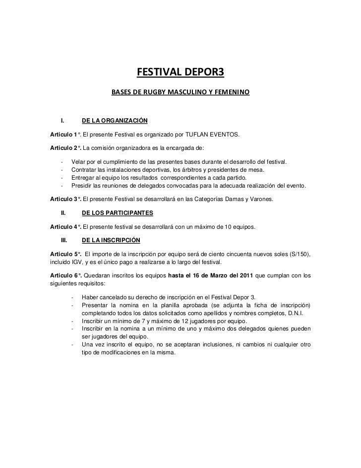 FESTIVAL DEPOR3                         BASES DE RUGBY MASCULINO Y FEMENINO    I.         DE LA ORGANIZACIÓNArticulo 1°. E...