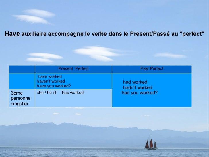 """Have auxiliaire accompagne le verbe dans le Présent/Passé au """"perfect""""                             Present Perfect        ..."""