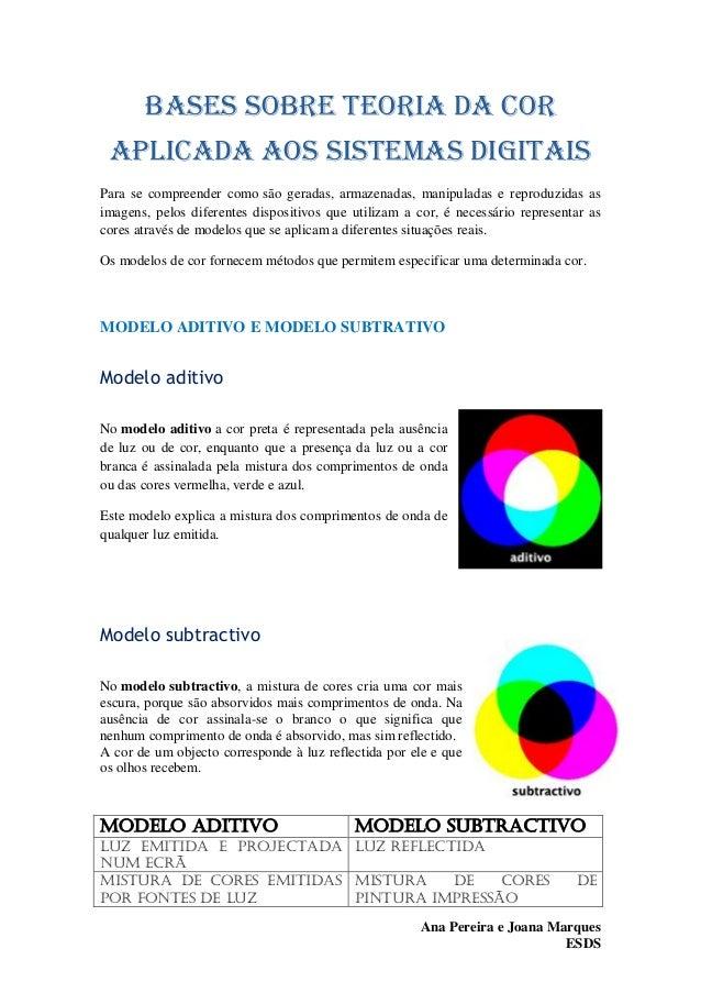 Bases sobre teoria da cor aplicada aos sistemas digitais Para se compreender como são geradas, armazenadas, manipuladas e ...