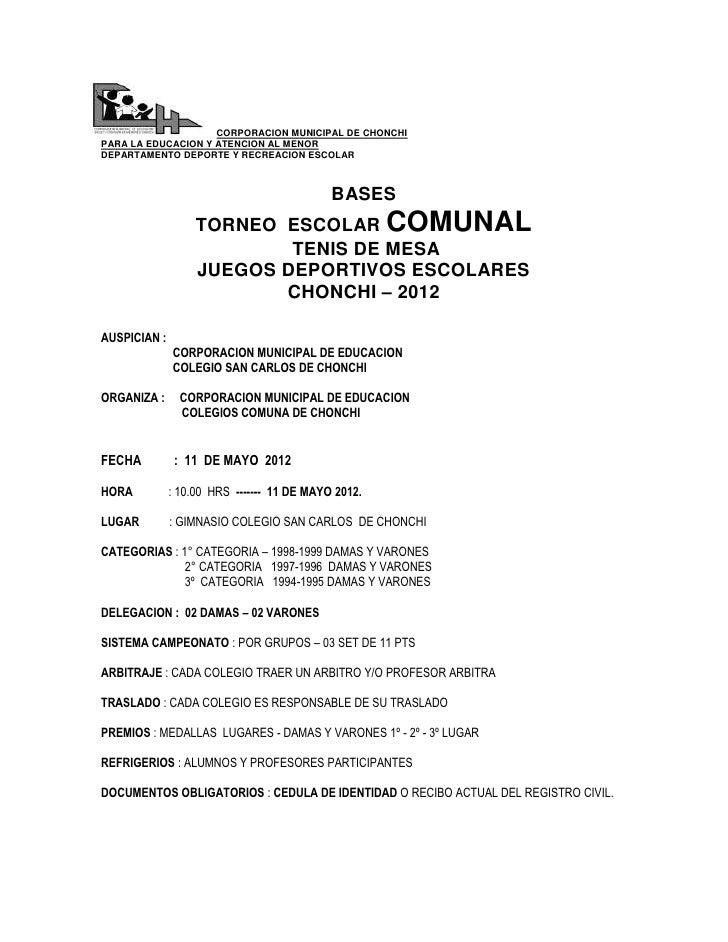 CORPORACION MUNICIPAL DE CHONCHIPARA LA EDUCACION Y ATENCION AL MENORDEPARTAMENTO DEPORTE Y RECREACION ESCOLAR            ...