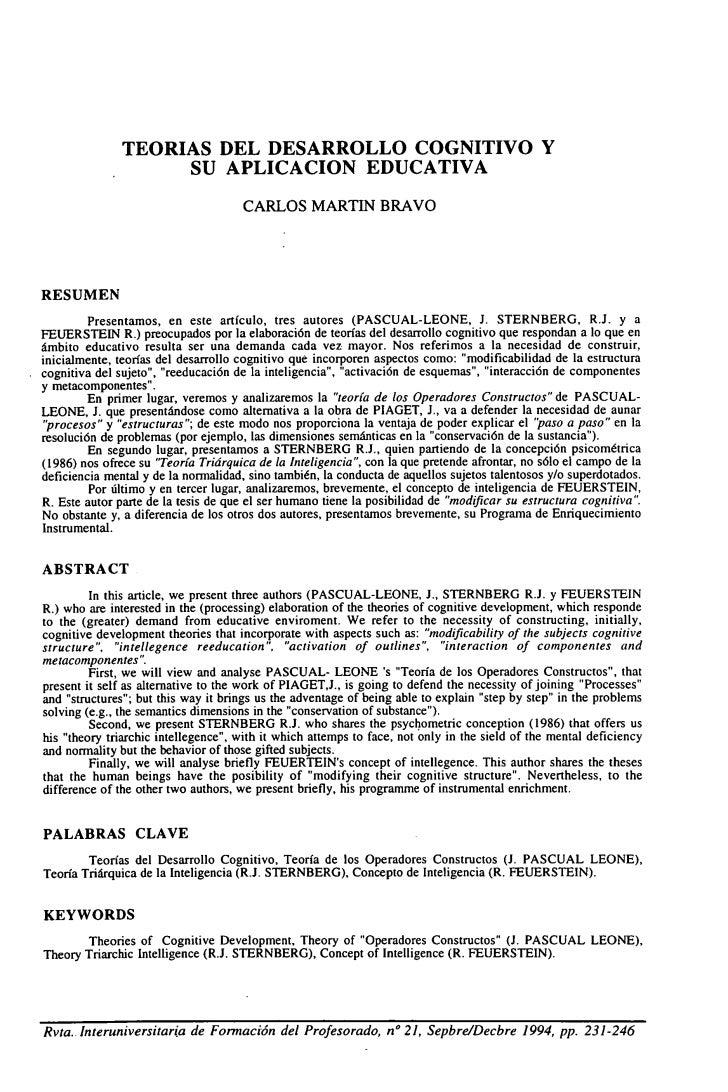 TEORIAS DEL DESARROLLO COGNITIVO Y                    SU APLICACION EDUCATIVA                                      CARLOS ...