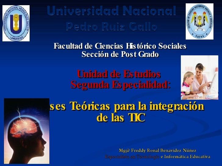 Facultad de Ciencias Histórico Sociales            Sección de Post Grado          Unidad de Estudios        Segunda Especi...