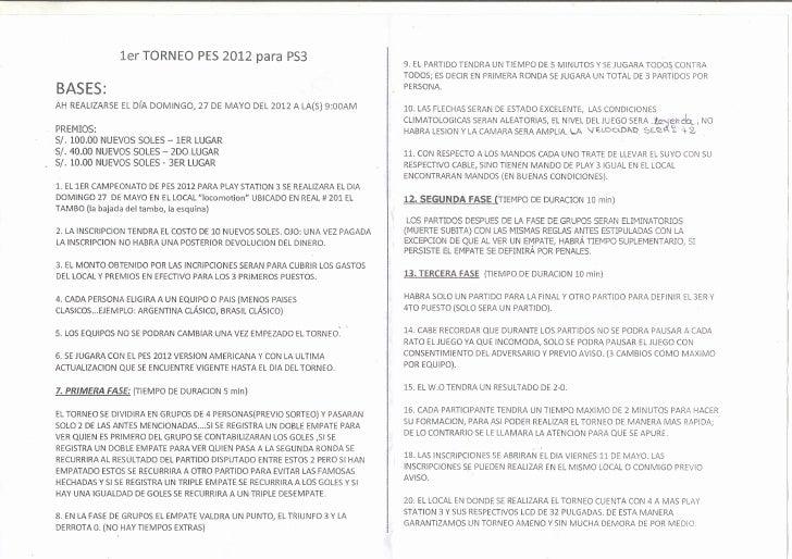 Bases torneo de pes 2012 ps3