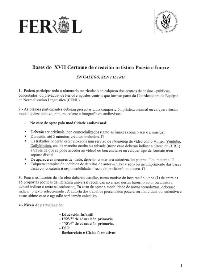 "XVII Certame ""En galego, sen filtro"". Bases"