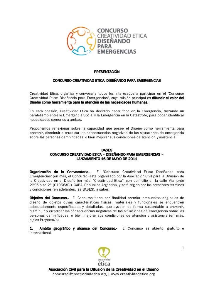 PRESENTACIÓN              CONCURSO CREATIVIDAD ETICA: DISEÑANDO PARA EMERGENCIASCreatividad Etica, organiza y convoca a to...