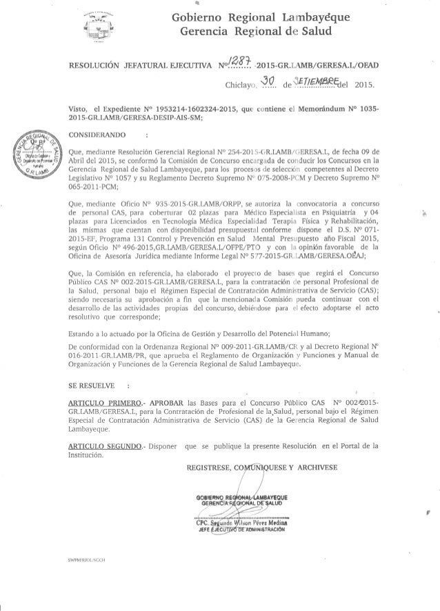 Bases  y convocatoria cas nº 002 2015