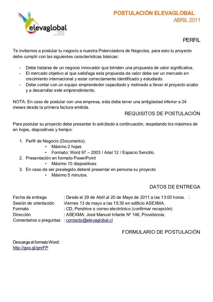 POSTULACIÓN ELEVAGLOBAL                                                                      ABRIL 2011                   ...