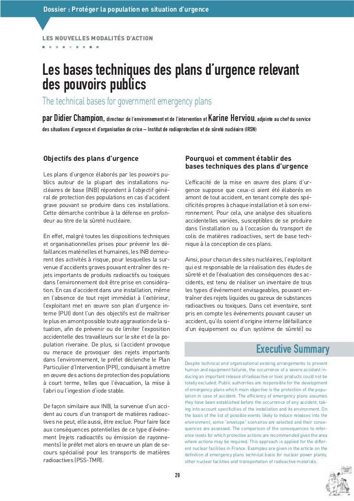 Dossier : Protéger la population en situation d'urgence▼LES NOUVELLES MODALITÉS D'ACTIONLes bases techniques des plans d'u...