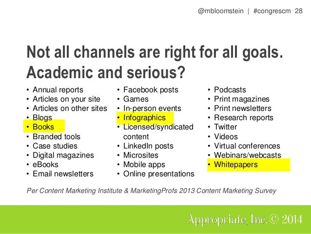@mbloomstein | #congrescm 29 Not all channels are right for all goals. Fun and engaging? • Annual reports • Articles on yo...