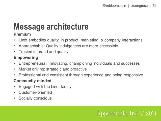 @mbloomstein | #congrescm 32 Message architecture drives a consistent user experience, visually and verbally.