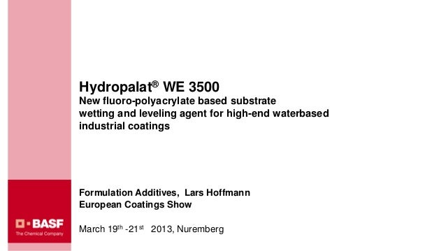 Hydropalat® WE 3500New fluoro-polyacrylate based substratewetting and leveling agent for high-end waterbasedindustrial coa...