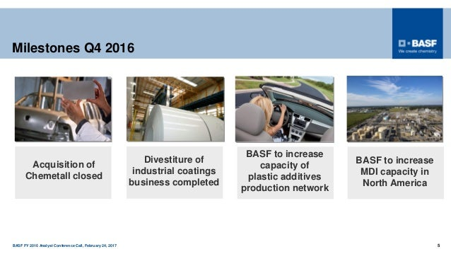 BASF FY 2016 Analyst Conference Call, February 24, 2017 5 Milestones Q4 2016 Acquisition of Chemetall closed Divestiture o...