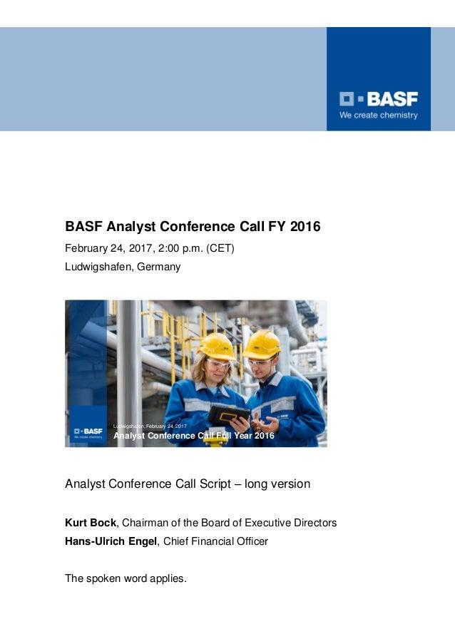 BASF Q4 FY2016 speech
