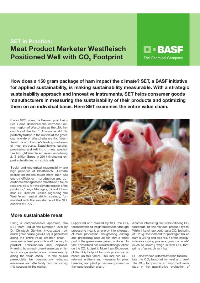 SET in Practice:Meat Product Marketer WestfleischPositioned Well with CO2 FootprintHow does a 150 gram package of ham impa...