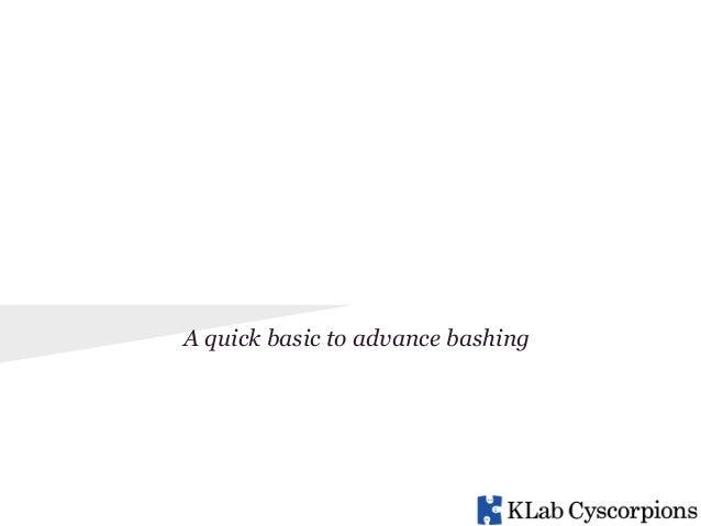 BASH A quick basic to advance bashing