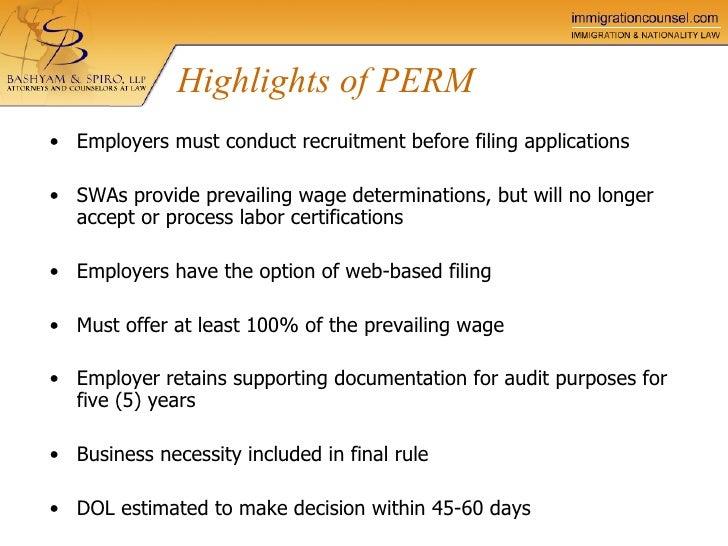 perm process certification labor bashyam llp spiro