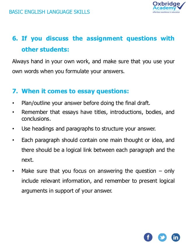 "answering essay questions english How to answer essay questions – the ultimate guide ""i hate essays"" this battle cry is famous to most students that's because essay questions are either easy or difficult."