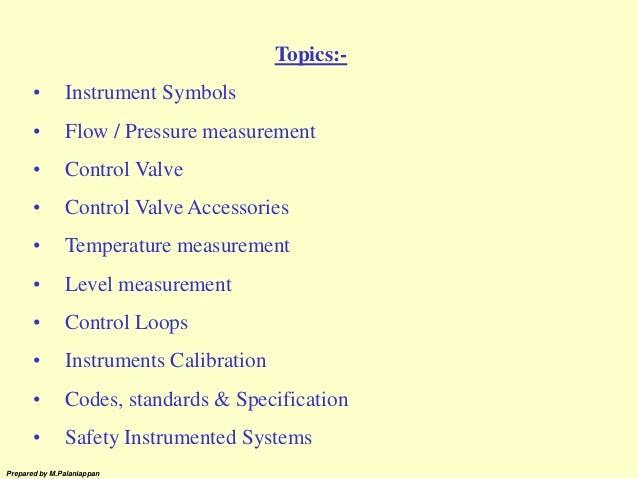 Prepared by M.Palaniappan Topics:- • Instrument Symbols • Flow / Pressure measurement • Control Valve • Control Valve Acce...