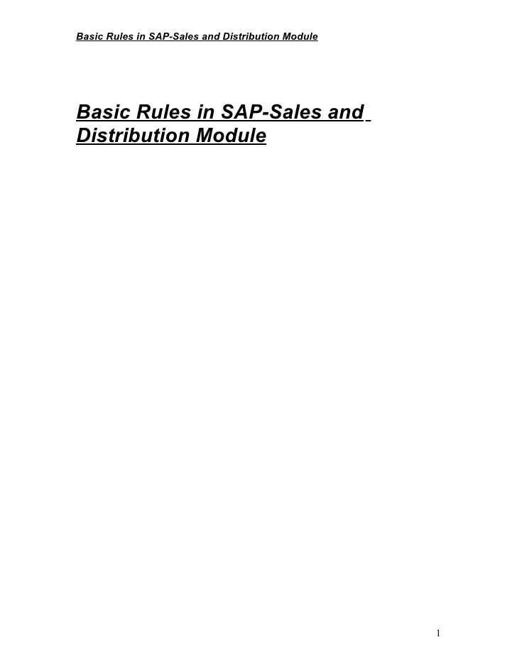 Basic Rules in SAP-Sales and Distribution ModuleBasic Rules in SAP-Sales andDistribution Module                           ...
