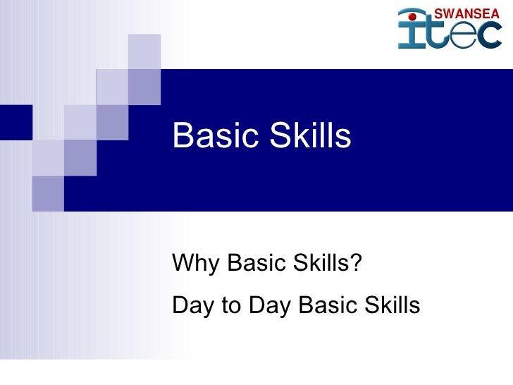 Basic Skills   Why Basic Skills? Day to Day Basic Skills