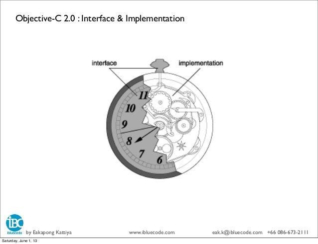 Objective-C 2.0 : Interface & Implementationby Eakapong Kattiya www.ibluecode.com eak.k@ibluecode.com +66 086-673-2111Satu...