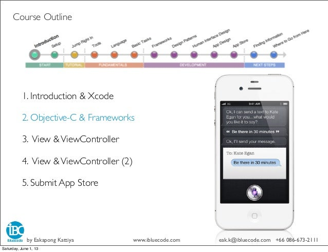 Course Outline1. Introduction & Xcode2. Objective-C & Frameworks3. View &ViewController4. View &ViewController (2)5. Submi...