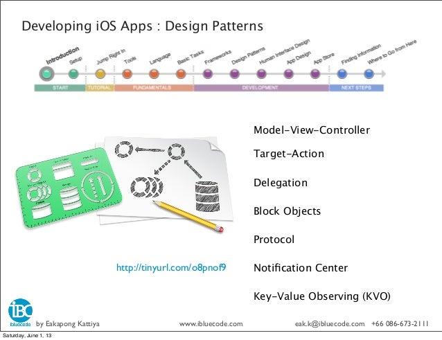 Developing iOS Apps : Design PatternsModel-View-ControllerTarget-ActionDelegationBlock ObjectsProtocolNotification CenterKe...