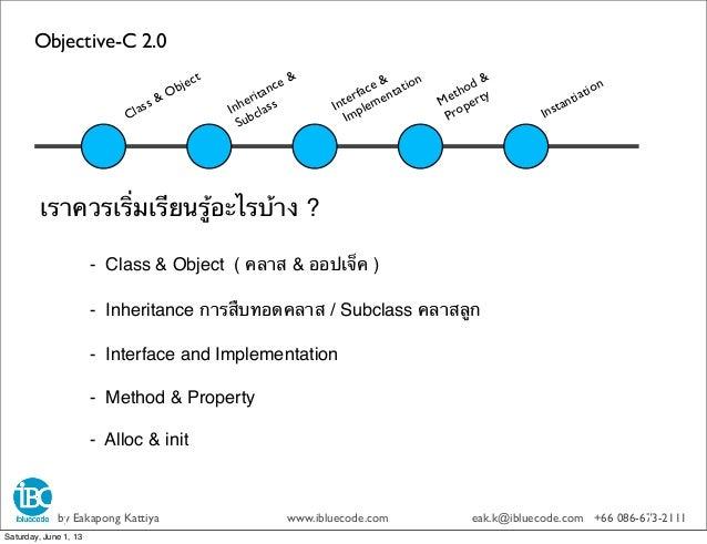 Objective-C 2.0by Eakapong Kattiya www.ibluecode.com eak.k@ibluecode.com +66 086-673-2111เราควรเริ่มเรียนรู้อะไรบ้าง ?- Cl...
