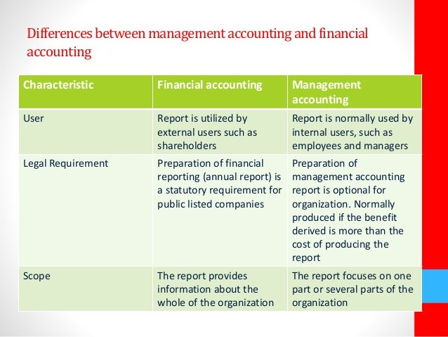 differences between managerial accounting and financial The differences between management accounting and financial accounting include: management accounting provides information to people within an organization while financial accounting is mainly for those outside it, such as shareholders.