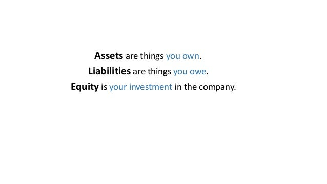 Assets are things you own. Liabilities are things you owe. Equity is your investment in the company.