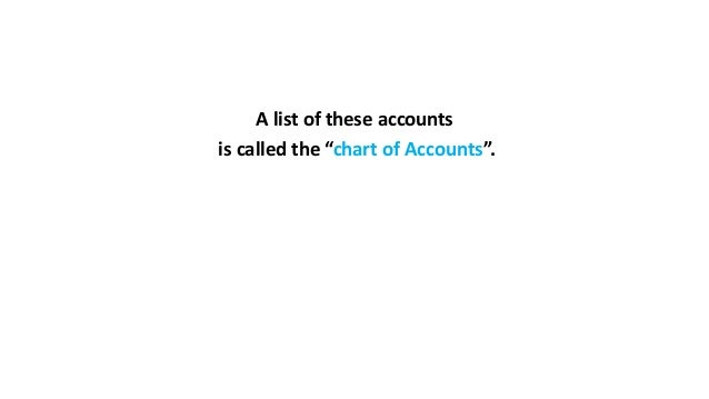 """A list of these accounts is called the """"chart of Accounts""""."""