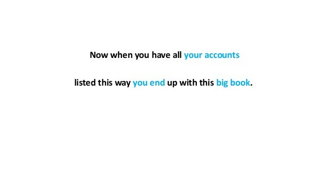 Now when you have all your accounts listed this way you end up with this big book.