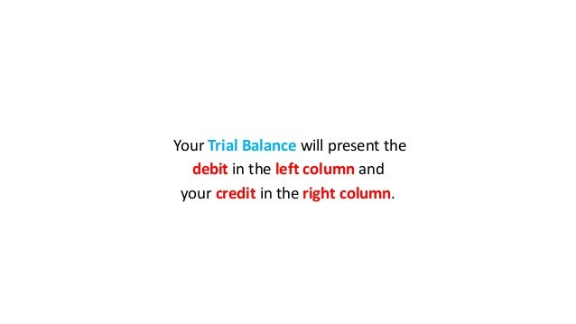 Your Trial Balance will present the debit in the left column and your credit in the right column.