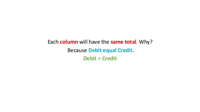 Each column will have the same total. Why? Because Debit equal Credit. Debit = Credit