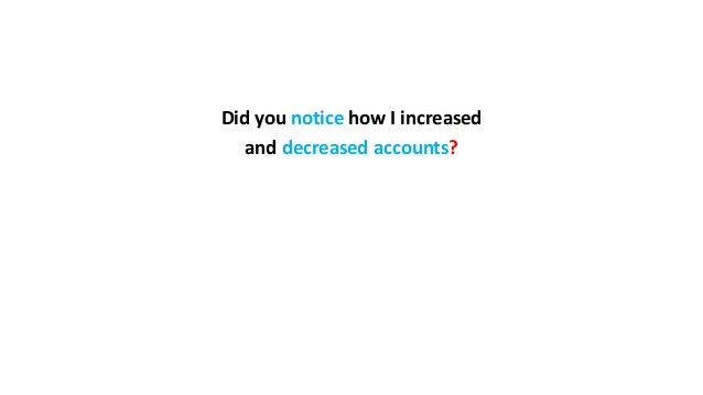Did you notice how I increased and decreased accounts?