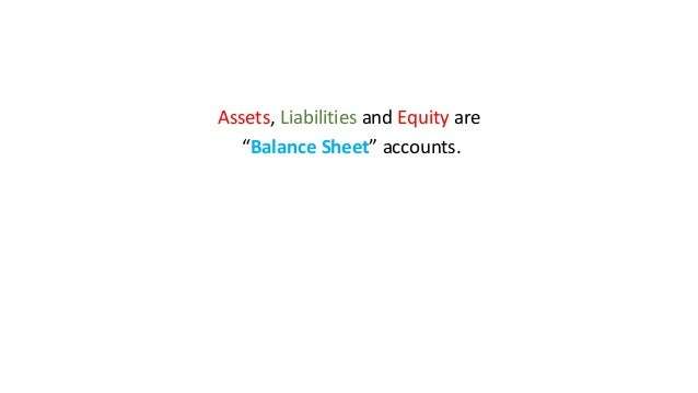 """Assets, Liabilities and Equity are """"Balance Sheet"""" accounts."""