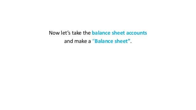 "Now let's take the balance sheet accounts and make a ""Balance sheet""."