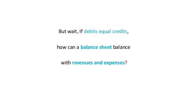 But wait, If debits equal credits, how can a balance sheet balance with revenues and expenses?