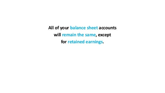 All of your balance sheet accounts will remain the same, except for retained earnings.
