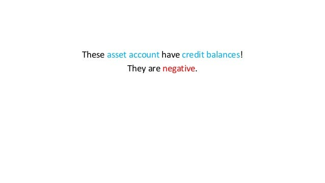 These asset account have credit balances! They are negative.