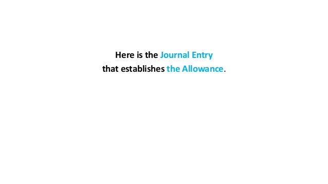 Here is the Journal Entry that establishes the Allowance.